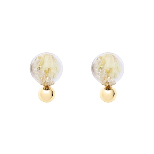 Short Story Bubble Stud Flower White Gold