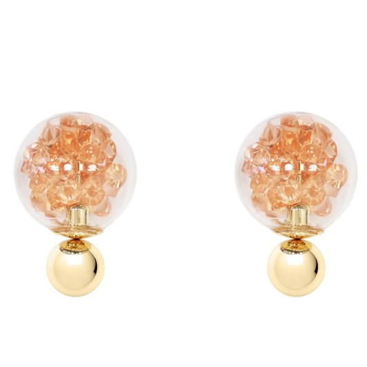Short Story Bubble Earring Gems Pink