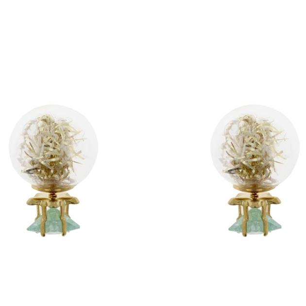 Short Story Bubble Earring Tinsel Green -