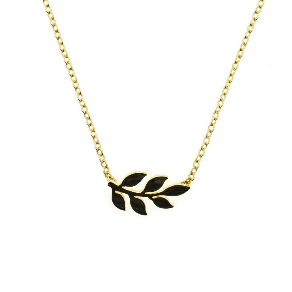 Short Story Necklace Simple Leaf Gold -