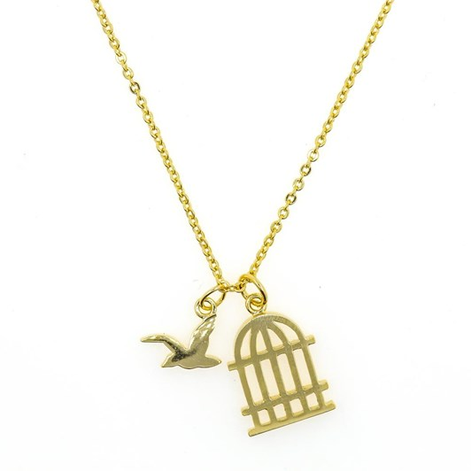 Short Story Necklace Bird And Cage Gold