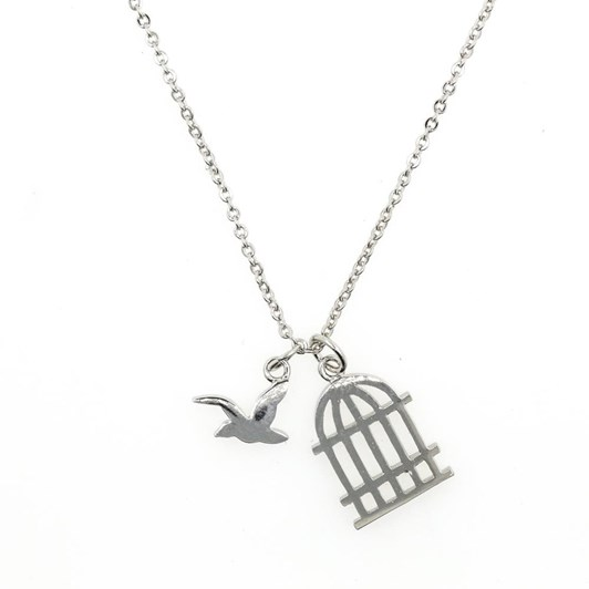 Short Story Necklace Bird And Cage Silver