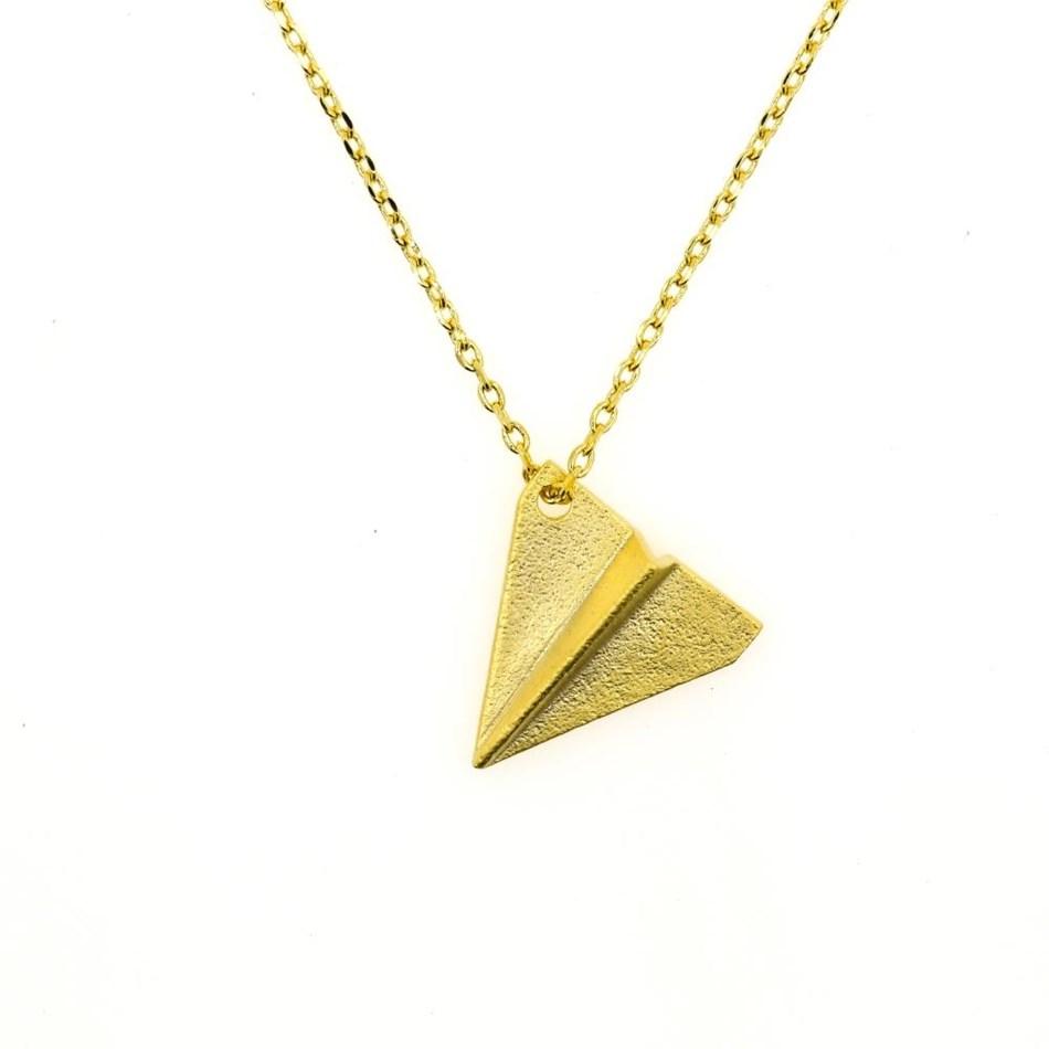 Short Story Necklace Aeroplane Gold -