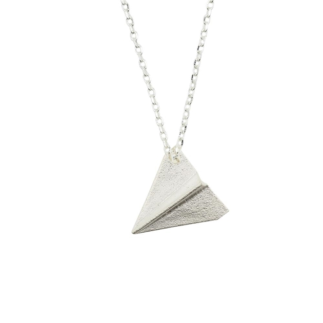 Short Story Necklace Aeroplane Silver -