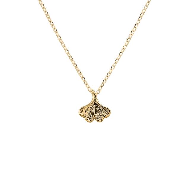 Short Story Necklace Ginko Leaf Gold -