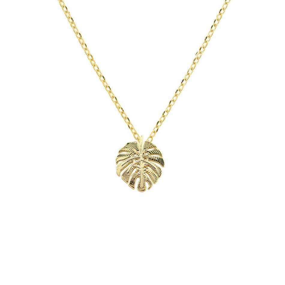 Short Story Necklace Monstera Leaf Gold -