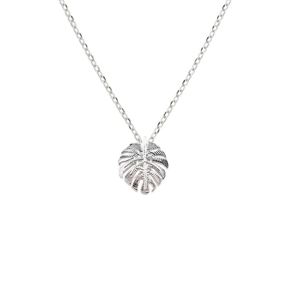Short Story Necklace Monstera Leaf Silver -