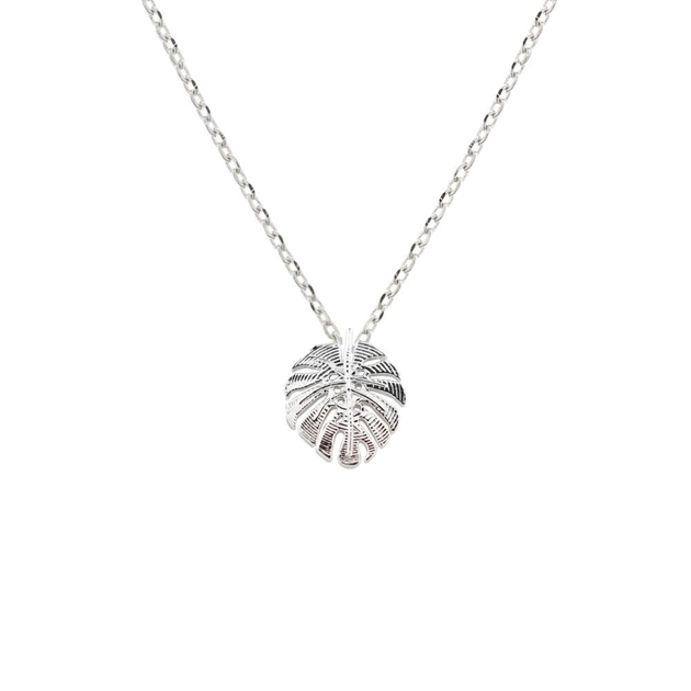 Short Story Necklace Monstera Leaf Silver -
