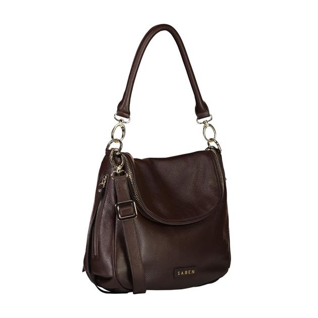 Saben Frankie Leather Handbag - cocoa