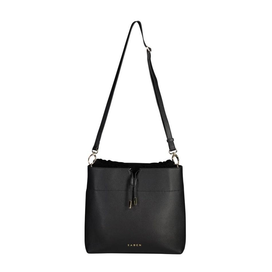 Saben Hoffman Leather Handbag - black suede
