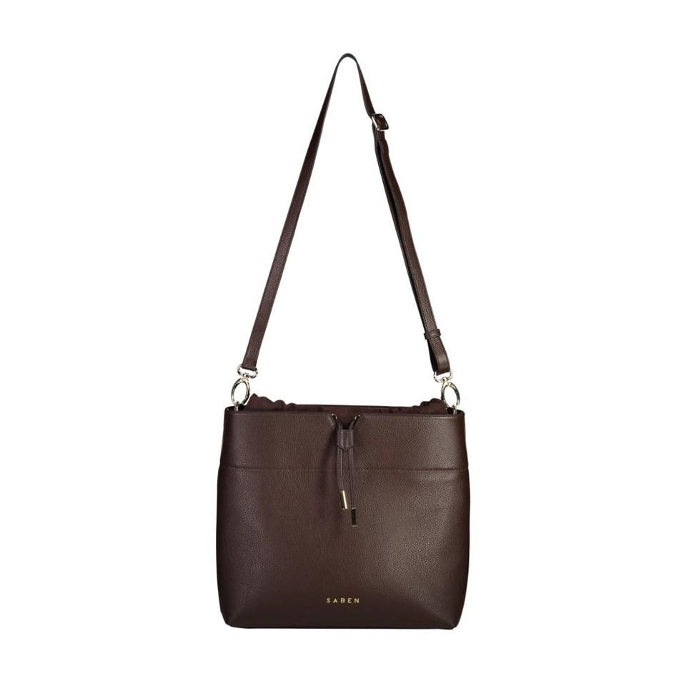 Saben Hoffman Leather Handbag - cocoa suede