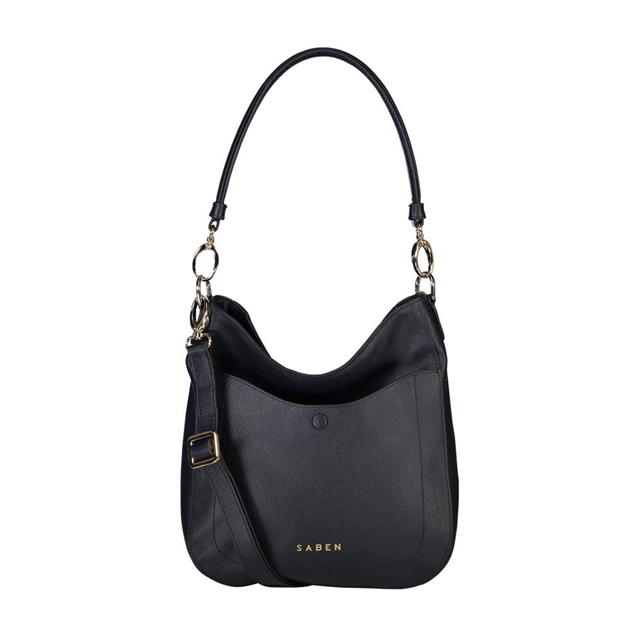Saben Rebe Leather Handbag - navy