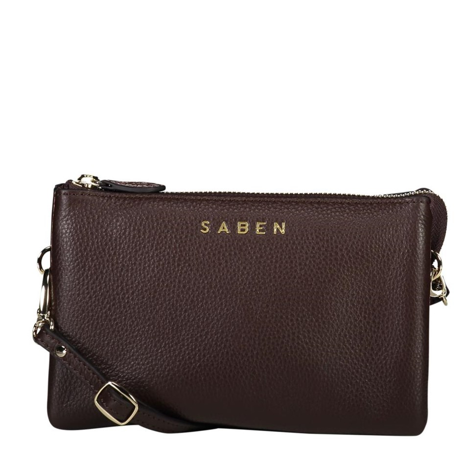 Saben Tilly With Strap Leather Handbag - cocoa