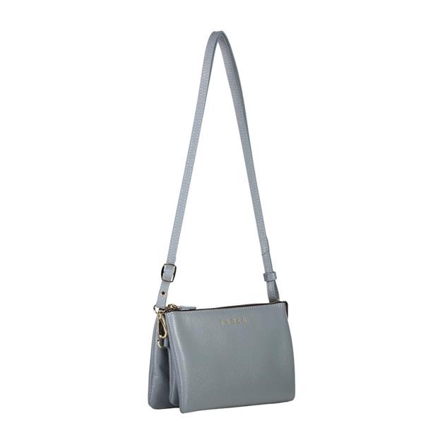 Saben Tilly With Strap Leather Handbag - grey blue