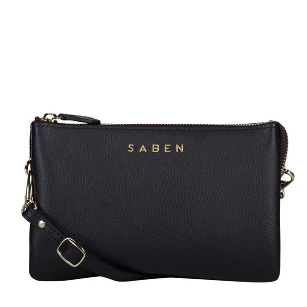 Saben Tilly With Strap Leather Handbag - navy