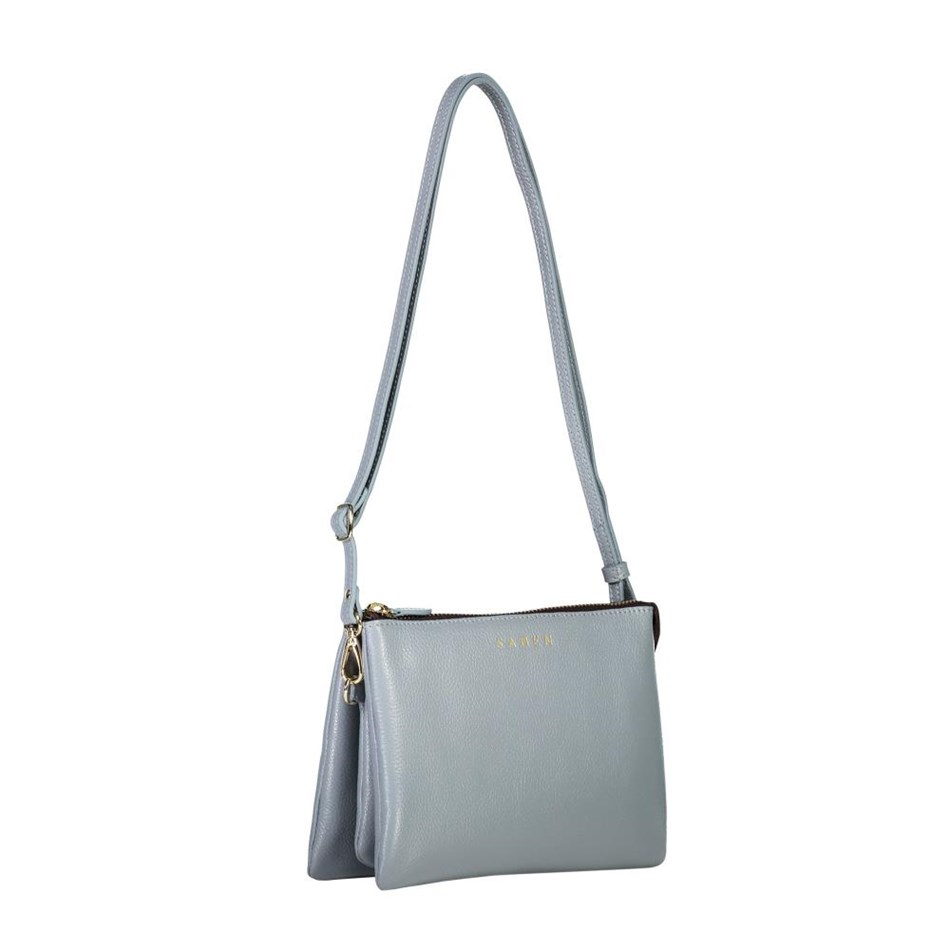 Saben Tilly's Big Sis Leather Handbag - grey blue