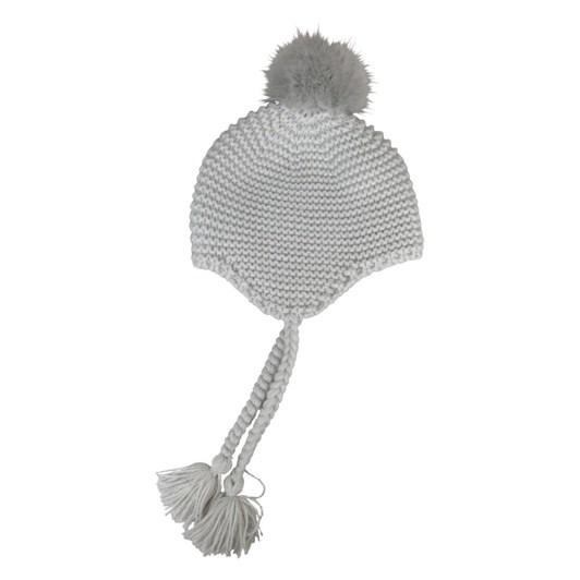 Mini Morgan & Taylor Pull On Hat With Fauc Fur Pom Poms
