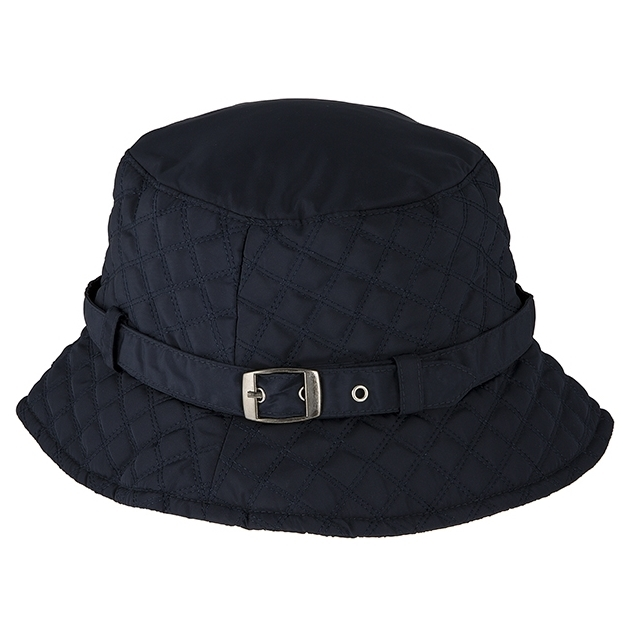 Dents Quilted Bucket Hat With Strap And Buckle Detail (Water Resistant) - navy