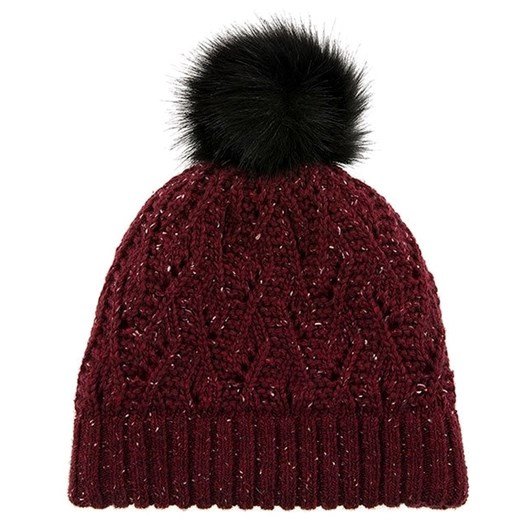 Dents Lace Knit Hat  With Marl Yarn And Faux Fur Pom