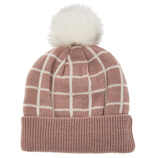 Dents Knitted Hat With Check Pattern And Faux Fur Pom