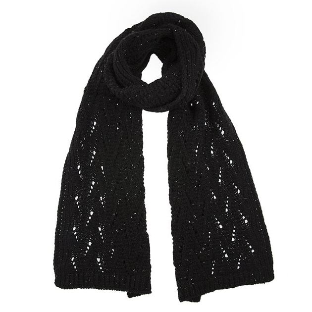 Dents Knitted Scarf With Marl Yarn And Lace Knit Pattern -