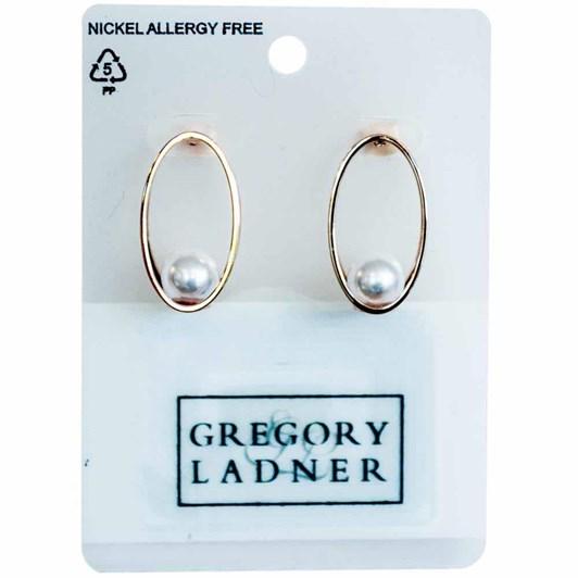 Gregory Ladner Faux Pearl Oval Drop Earring