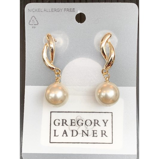 Gregory Ladner Twist w Round Faux Pearl Earring Gold