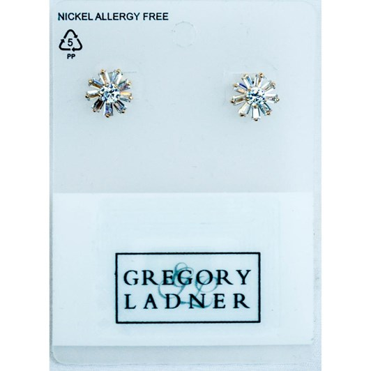 Gregory Ladner Flower Shaped CZ Earring Rose Gold