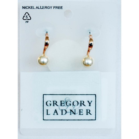 Gregory Ladner Small Single Faux Pearl on Curved Fit Earring