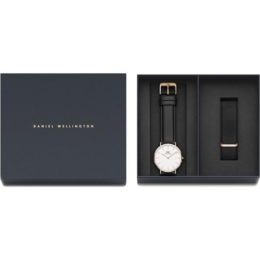 Daniel Wellington Classic Cornwall Black RG Watch 40mm & Strap Gift Set
