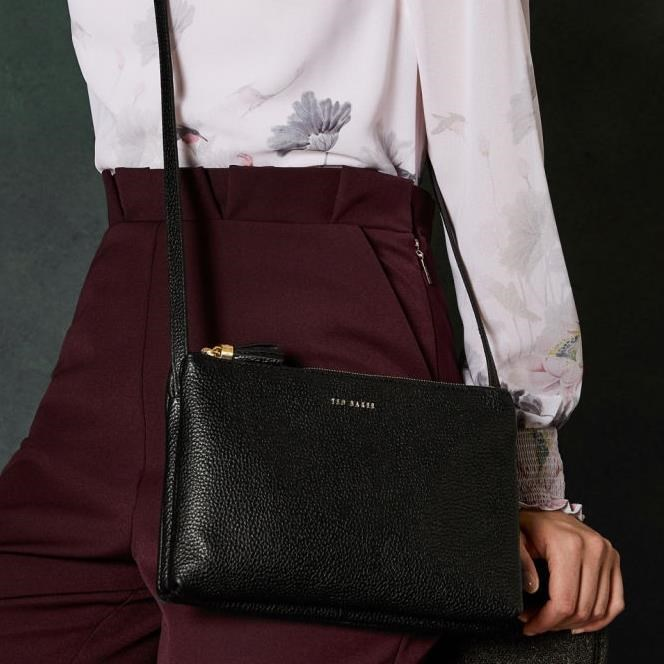 Ted Baker Leather Double Zipped Crossbody - 00 black