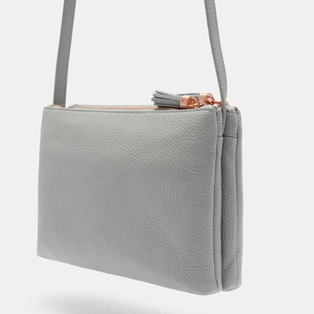 Ted Baker Leather Double Zipped Crossbody - 05 grey