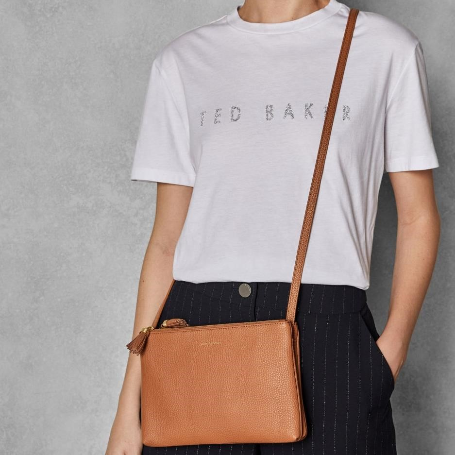 Ted Baker Leather Double Zipped Crossbody - 27 tan