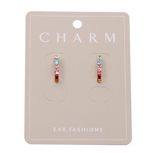 Charm Gold Multi Crystal Strip Earring