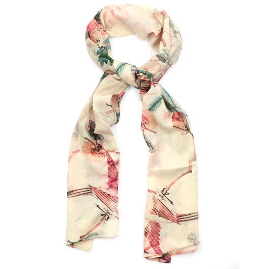 Front Row Society Flowers And Birds Wool Scarf