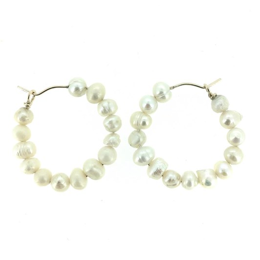 Holly Ryan Keshi Pearl Hoops - Solid 9ct Gold - White Gold