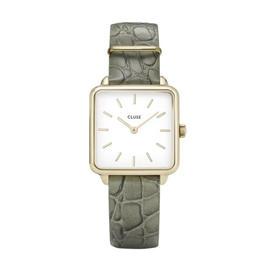 Cluse La Tetragone Gold White/Green Alligator Watch
