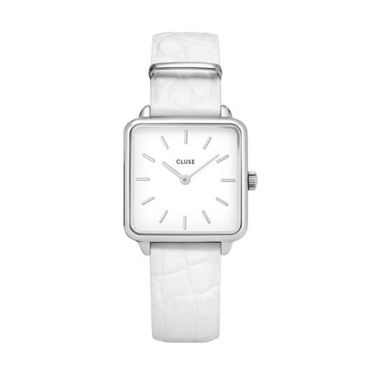 Cluse La Tetragone Silver White/White Alligator Watch