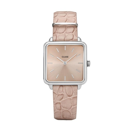 Cluse La Tetragone Silver Beige/Beige Alligator Watch
