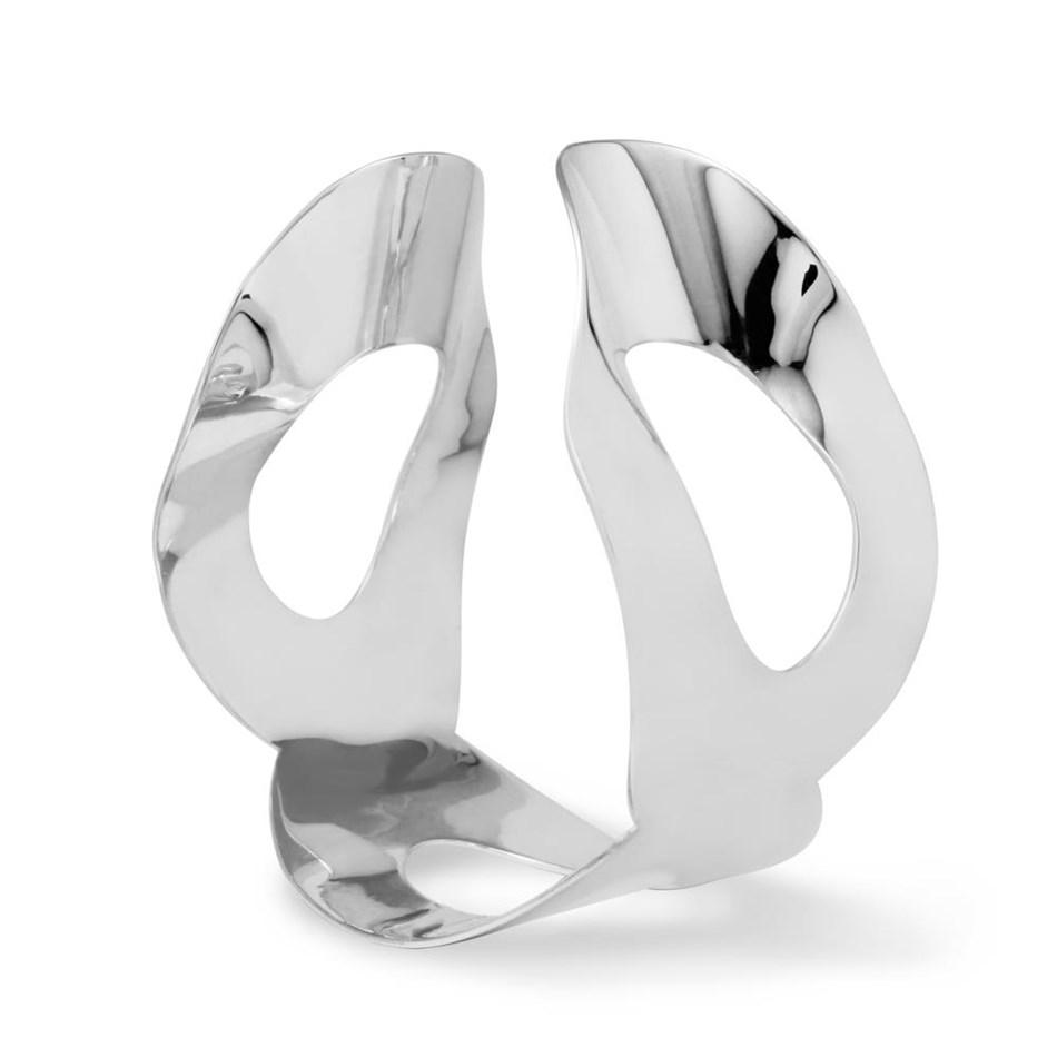 Black Matter Cuff In Sterling Silver -