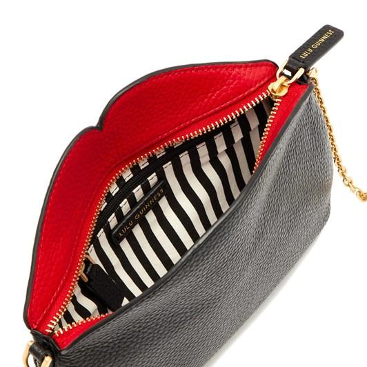 Lulu Guinness Black Leather Cleo Cross Body Bag