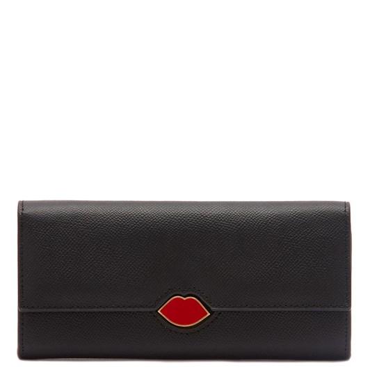 Lulu Guinness Black Leather Cora Wallet