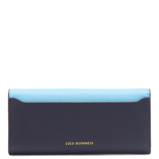 Lulu Guinness Sky and Navy Leather Cora Wallet