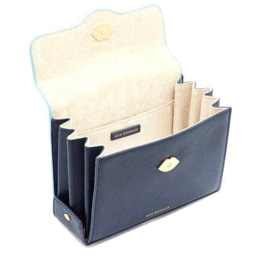 Lulu Guinness Navy And Sky Blue Leather Quennie Handbag