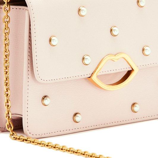 Lulu Guinness Blush Pearl Leather Polly Clutch Bag
