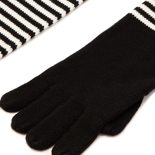 Lulu Guinness Red Black Heart Stripe Knitted Gloves