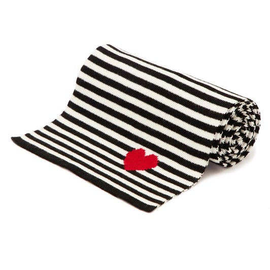 Lulu Guinness Red Black Heart Stripe Knitted Scarf