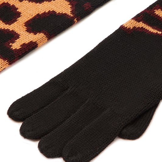 Lulu Guinness Black Tan Red Wild Cat Knitted Gloves