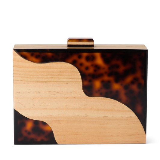 Olga Berg Jones Wood & Acrylic Box Clutch