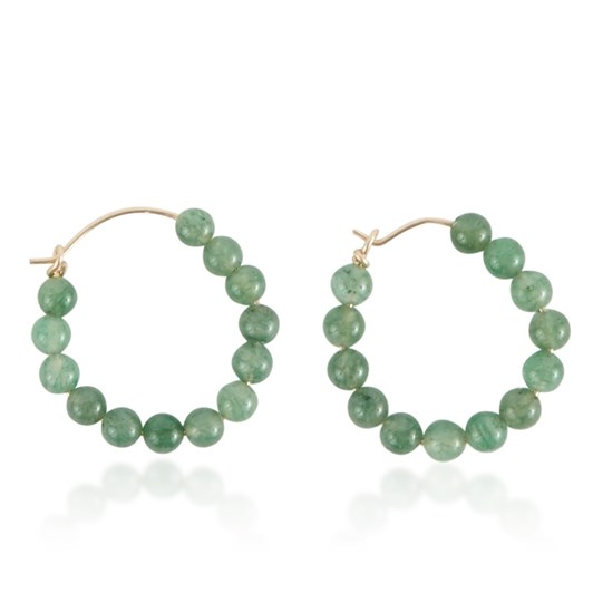 Holly Ryan Moss Agate Hoops - 9Ct Yellow Gold